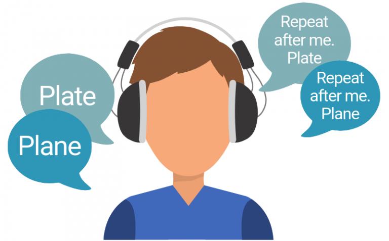 در ادیومتری گفتار، کلمات خاصی از طریق دستگاه ادیومتر و هدفون به گوش فرد آزمایش شونده ارایه میشود و او باید کلمات شنیده شده را تکرار کند.
