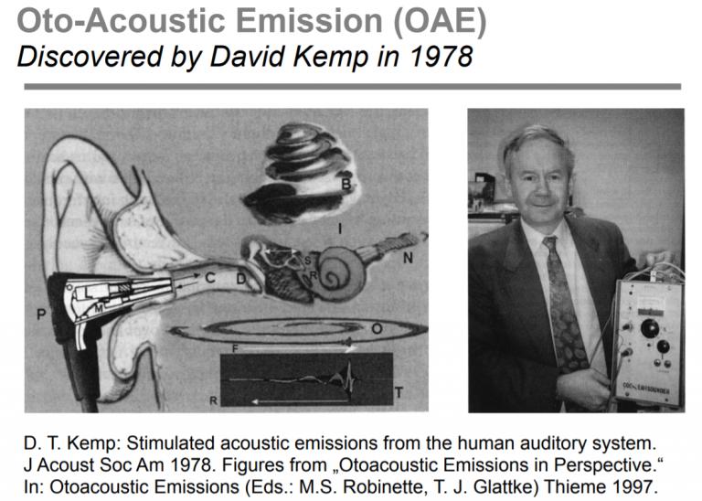 پروفسور کمپ و دستگاهی که اولین بار OAE به وسیلهی آن ثبت شد.